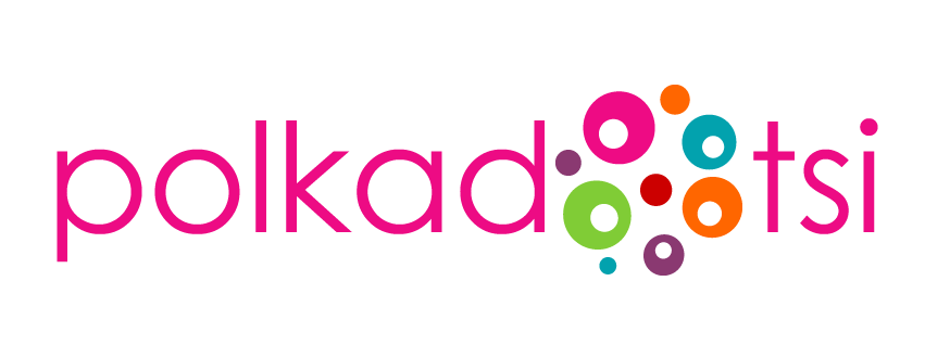 Polkadotsi logo, pink text with coloured circles