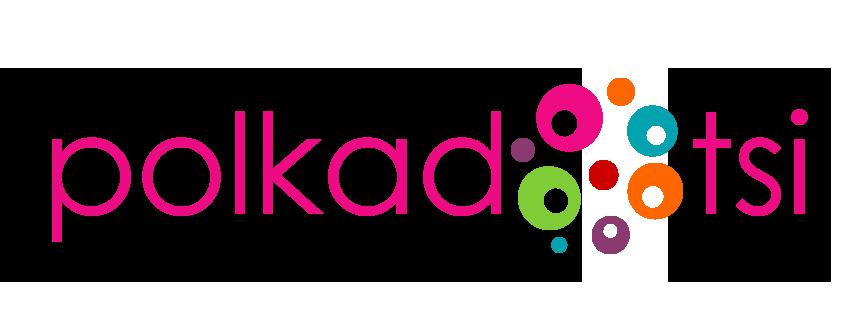 Polkadotsi logo, pink text with coloured circles