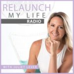 Relaunch My Life Radio logo and portrait of Juliet Lever